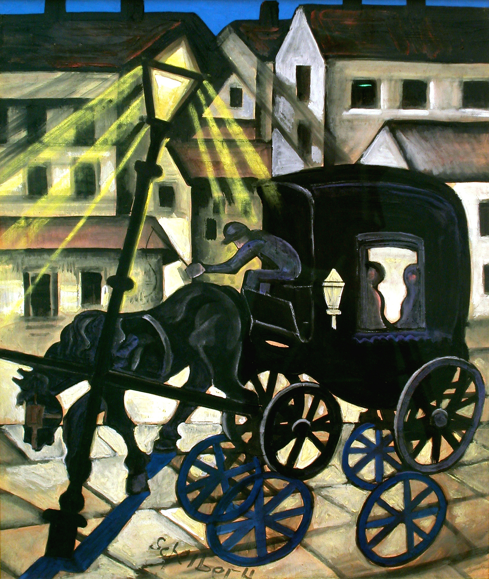 Carriage at Night, circa 1930, tempera and gouache on paper, 27.5 x 22.5 inches; 69.9 x 182.9 centimeters