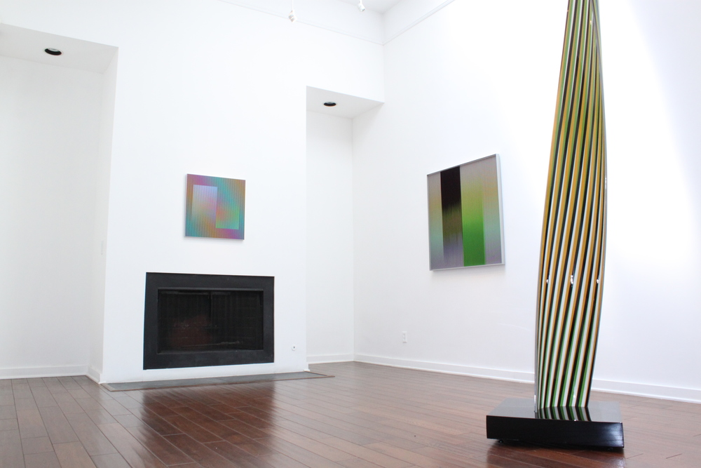 Right to left:  Carlos Cruz-Diez   Color Aditivo Betzaida 2 , 2011   Physichromie no 1863 , 2013   Cromovela Mathias 1,  2013