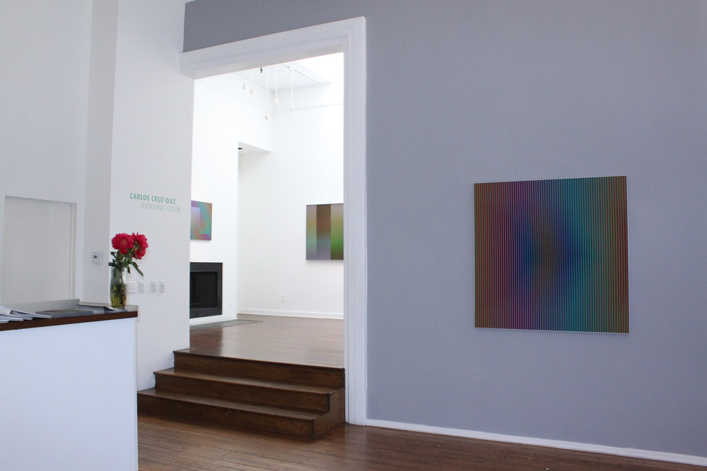 Right to left:  Carlos Cruz-Diez   Color Aditivo Betzaida 2 , 2011   Physichromie no 1863 , 2013   Induccion Cromatica Sicardi B,  2012