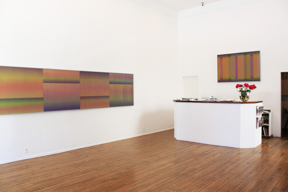 Installation shot from Carlos Cruz-Diez: Evolving Color. Louis Stern Fine Arts, 2014.