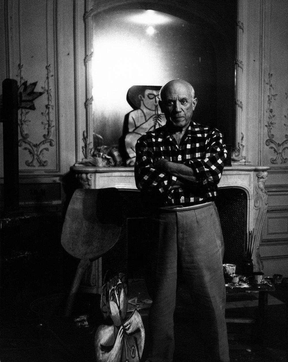"""Lucien Clergue: Picasso au miroir """"La Californie,"""" Cannes, 1955, vintage silver gelatin print, 9.45 x 7.09 inches"""