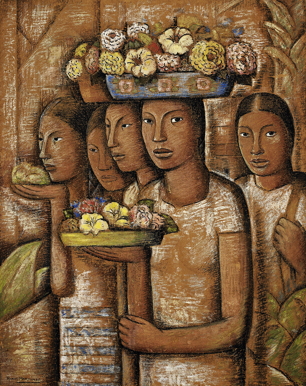Alfredo Ramos Martinez, Mujeres Indigenas de Oaxaca, 1944, oil on board, 44.8 x 35.5 inches;  113.8 x 90.2 centimeters