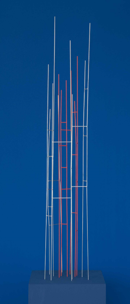 Mikado 22:08, 2012, stainless steel with red pigment, 49 x 7 x 9 inches