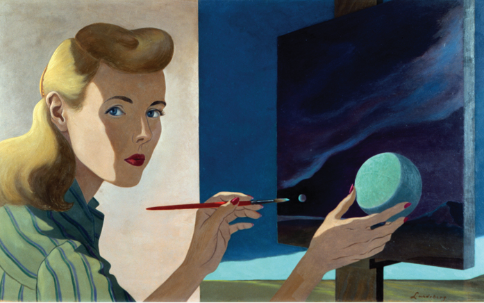 Helen Lundeberg, Self-Portrait, 1944, Collection Zimmerli Art Museum at Rutgers University, Gift of The Lorser Feitelson and Helen Lundeberg Feitelson Arts Foundation.