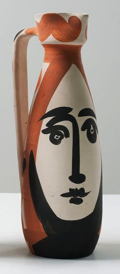 Visage (AR. 288), 1955, partially glazed white earthenware clay, 12.5 inches; 31.8 c
