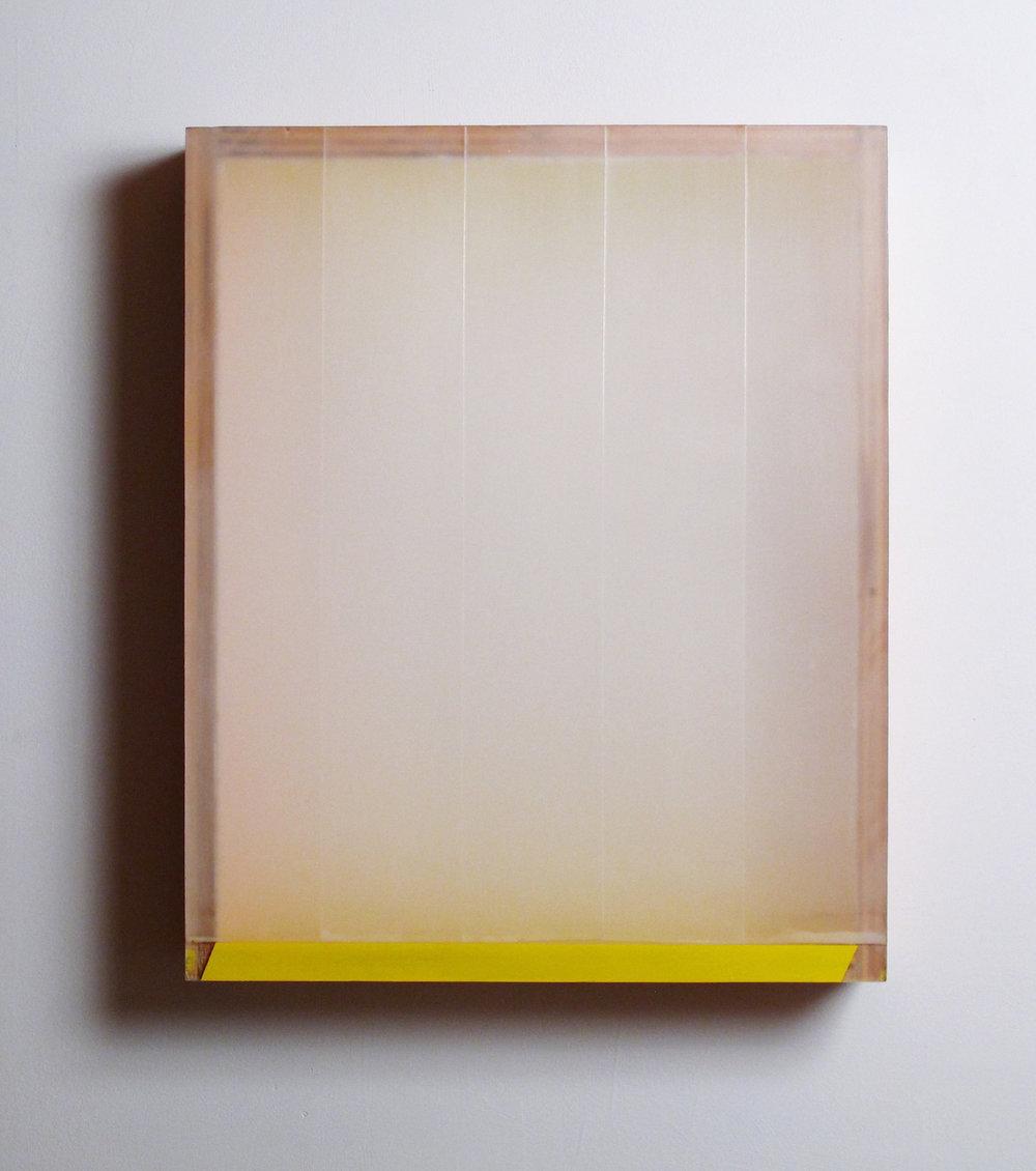 Light Leak , plexiglas, birch, pigment, tape, beeswax, enamel, 19.5 x 15.75 x 3.75 inches