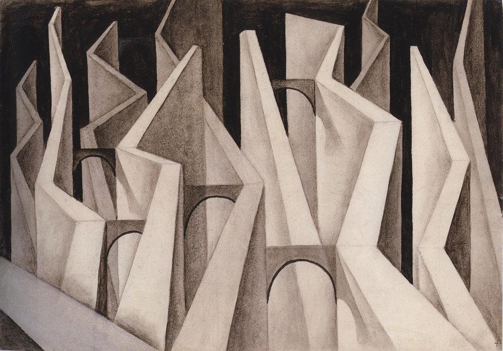 Alejandro Xul Solar  (1887-1963)  Muros , 1944 tempera on paper 13 1/2 x 19 5/8 inches 34.3 x 49.8 centimeters