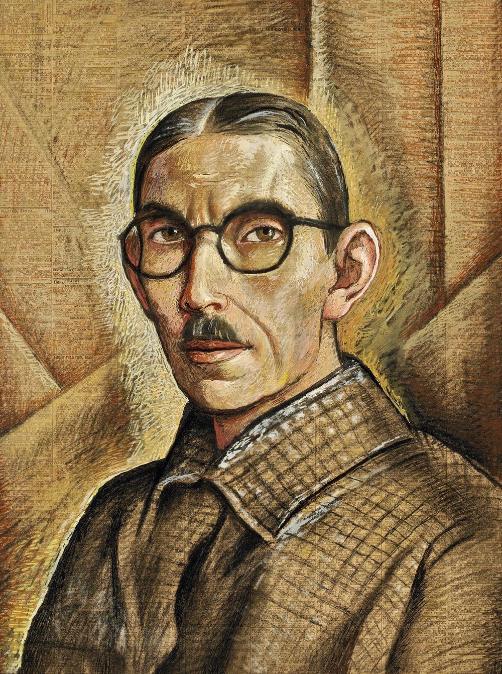 Alfredo Ramos Martinez  (1871-1946)  Autoretrato/ Self Portrait , ca. 1938 tempera on newsprint 20.8 x 15.3 inches 53 x 39 centimeters