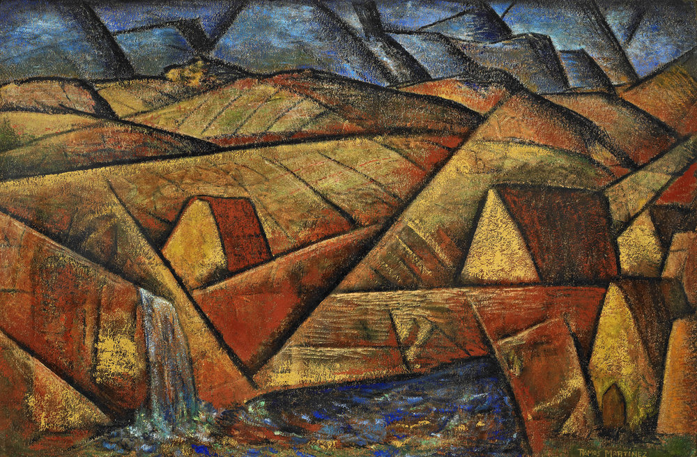 Alfredo Ramos Martinez  (1871-1946)  Lomas y Montanas , 1940 oil on board 23 3/4 x 35 7/8 inches;  60 x 91 centimeters