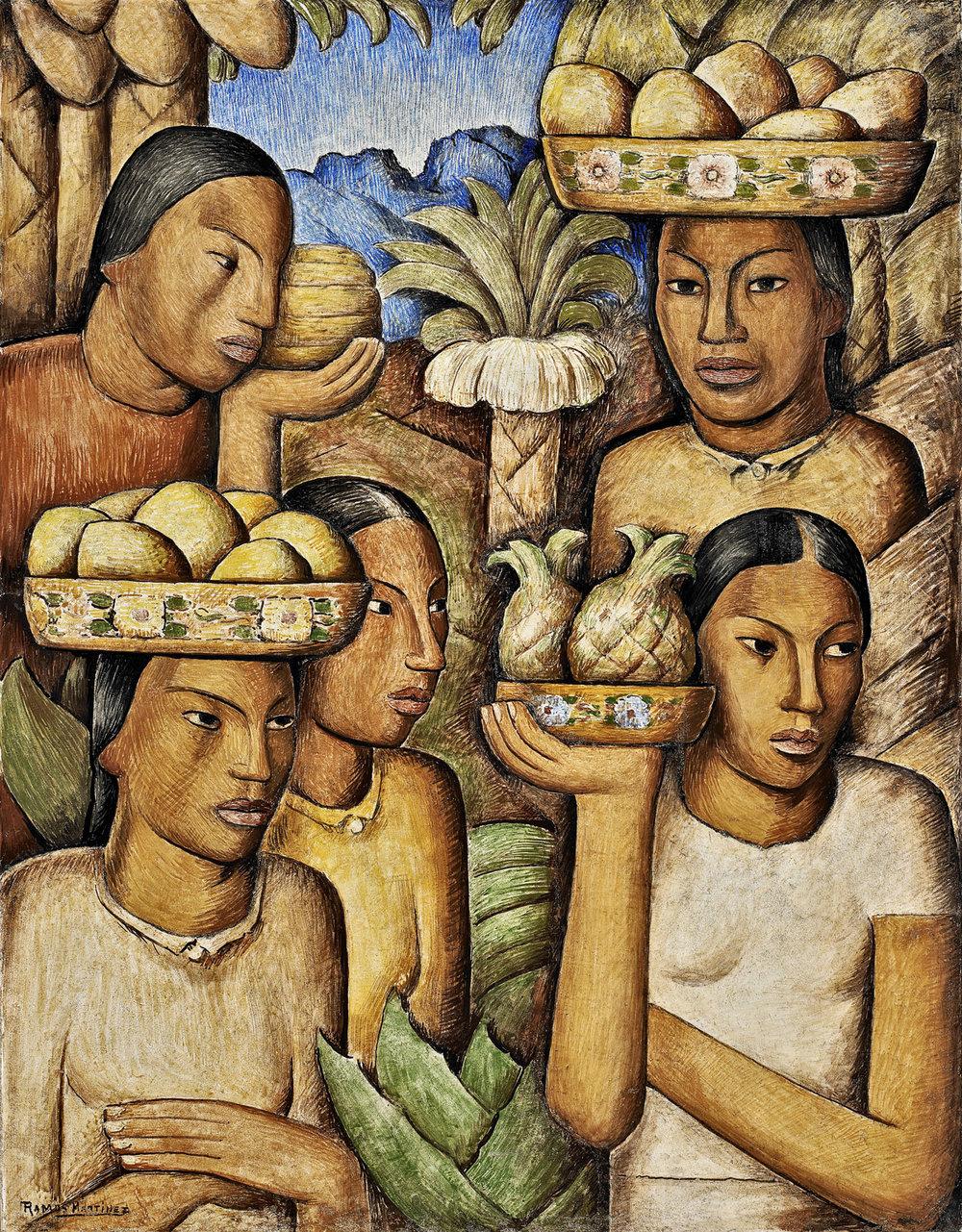Alfredo Ramos Martinez  (1871-1946)  Vendedoras de Frutas , circa 1937 fresco 31 x 24 inches 78.7 x 61 centimeters