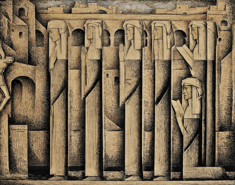 Alfredo Ramos Martinez  (1871-1946)  Procession of Nuns , circa 1935 tempera  16 x 20 inches; 40.6 x 50.8 centimeters