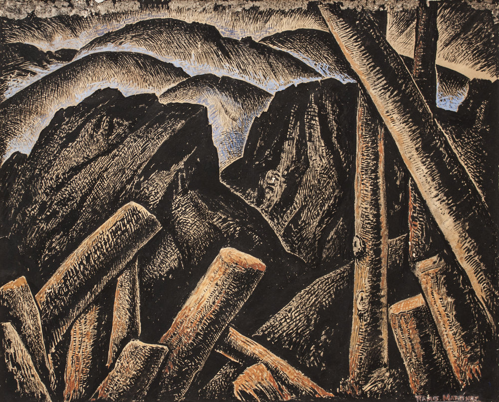 Alfredo Ramos Martinez  (1871-1946)  After the Storm , circa 1934 tempera on paper 11 1/2 x 14 5/8 inches 29.2 x 37.1 centimeters