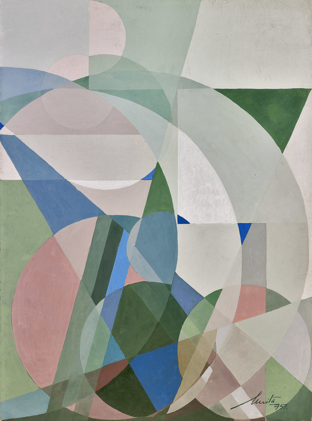 Anita Payró  (1897-1980)  Untitled Abstract Composition , 1951 oil and tempera on board 14 1/2 x 10 3/4 inches 36.8 x 27.3 centimeters
