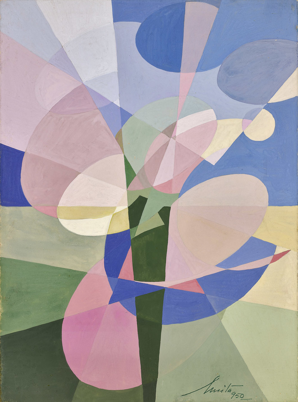 Anita Payró  (1897-1980)  Untitled Abstract Composition , 1950 oil and tempera on board 14 1/2 x 10 3/4 inches 36.8 x 27.3 centimeters