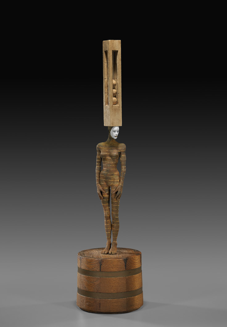 Cecilia Z. Miguez  (b. 1955)  Obsessions , 2011 bronze and wood 34 x 8 1/2 x 8 1/2 inches 86.4 x 21.6 x 21.6 centimeters