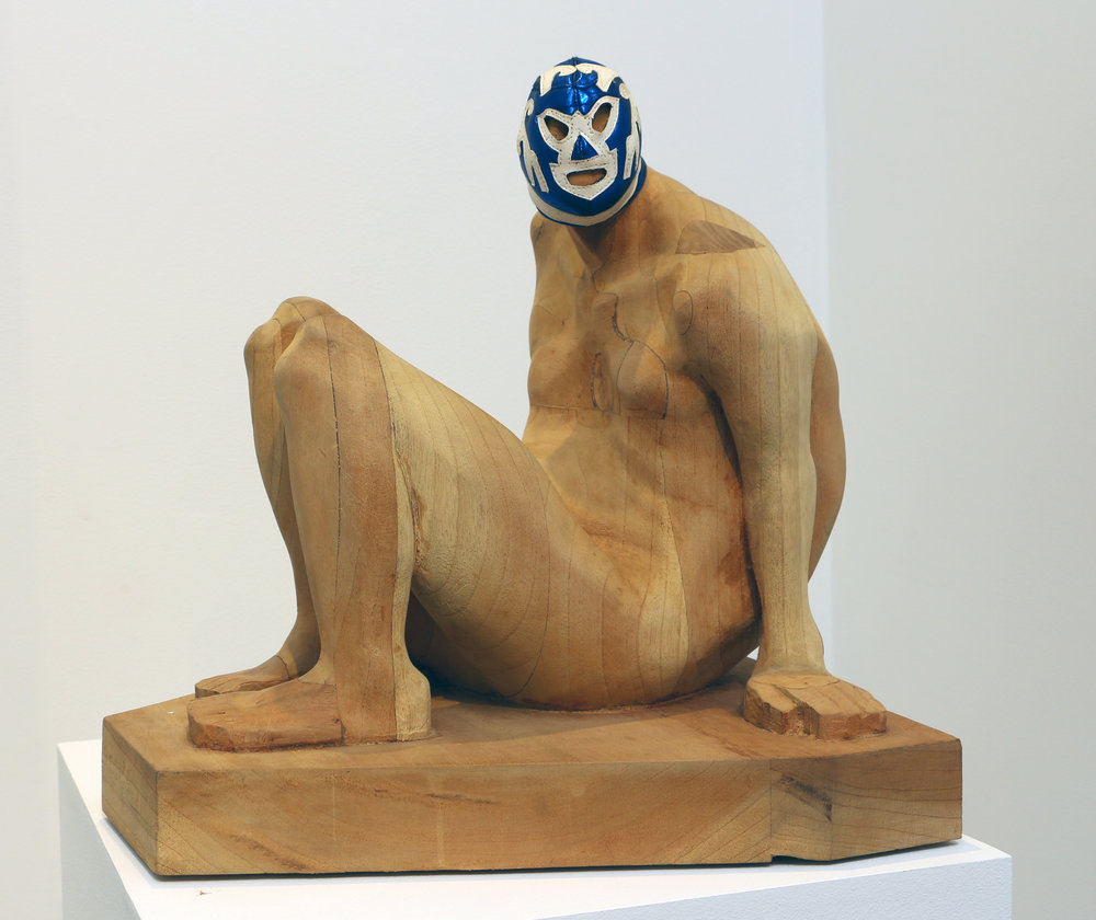 Armando Romero   Seated Pride , 2008 wood and vinyl 15 3/4 x 16 x 15 1/2 inches 40 x 40.6 x 39.4 centimeters