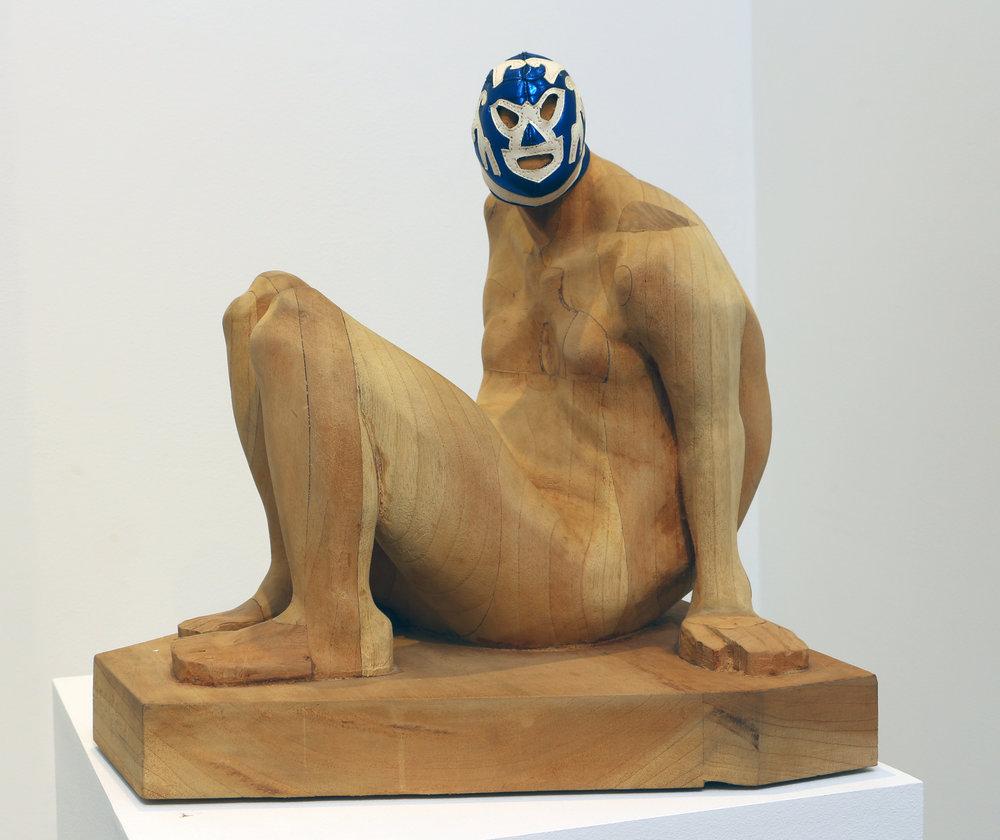 Armando Romero   Seated Pride , 2008 wood and vinyl 15 3/4 x 16 x 15 1/2 inches 40 x 40.6 x 39.4 centimeters
