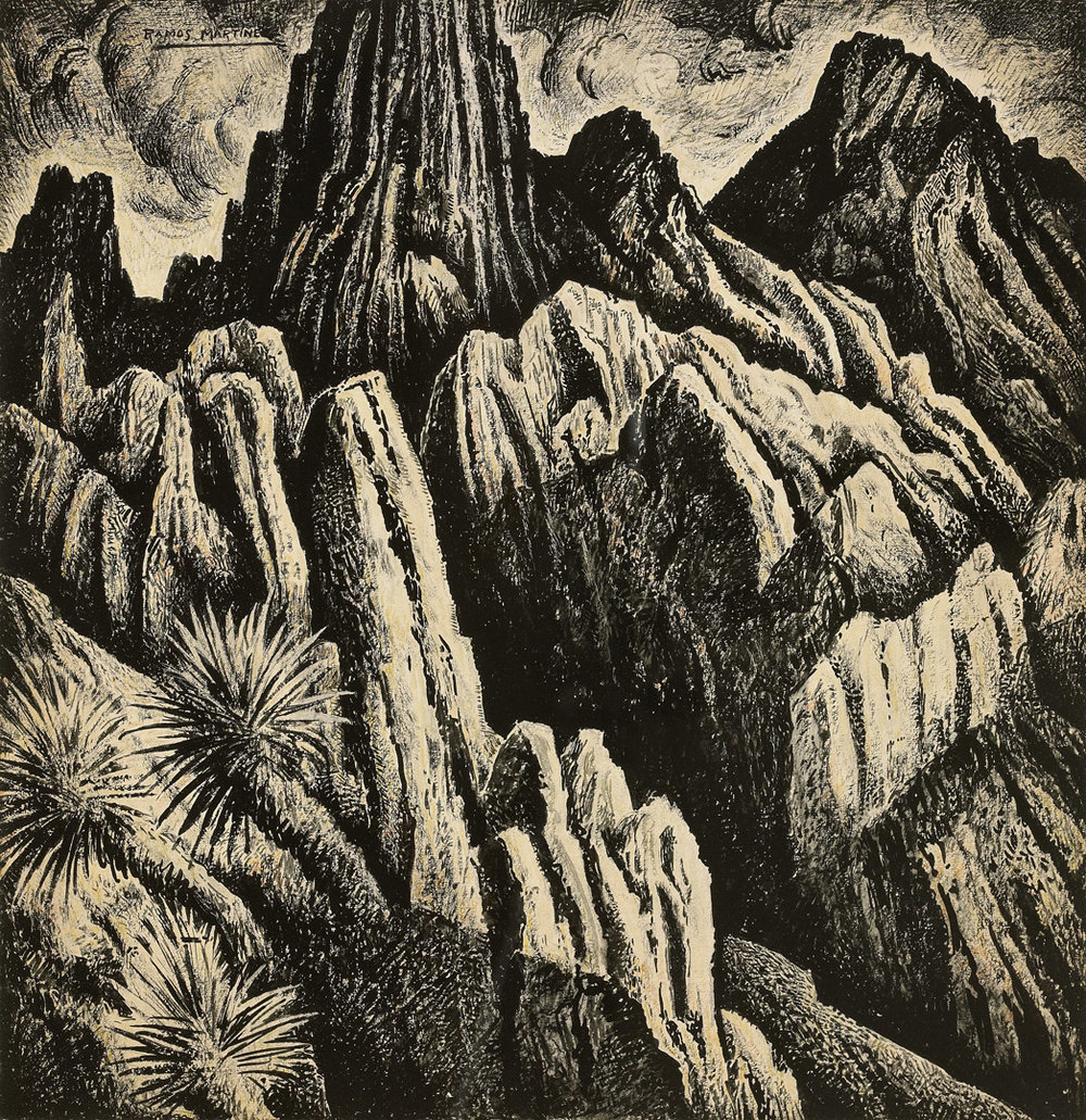 Alfredo Ramos Martinez  (1871-1946)  Cordillera Mexicana , 1934 tempera on paper 18 x 17 1/2 inches 45.7 x 44.5 centimeters