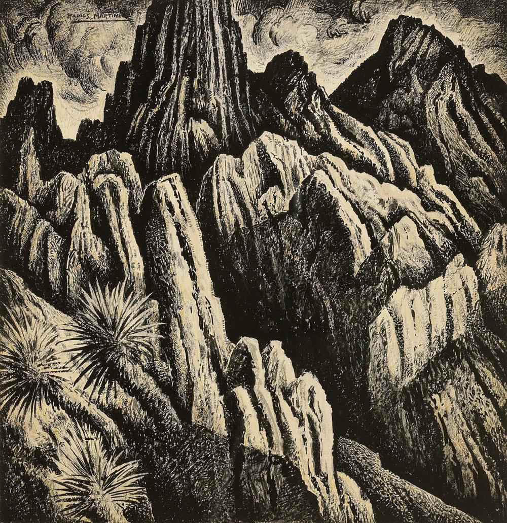 Alfredo Ramos Martinez  (1871-1946)  Cordillera Mexicana , 1934 tempera on paper 18 x 17 1/2 inches 45.7 x 44.5 centimeters
