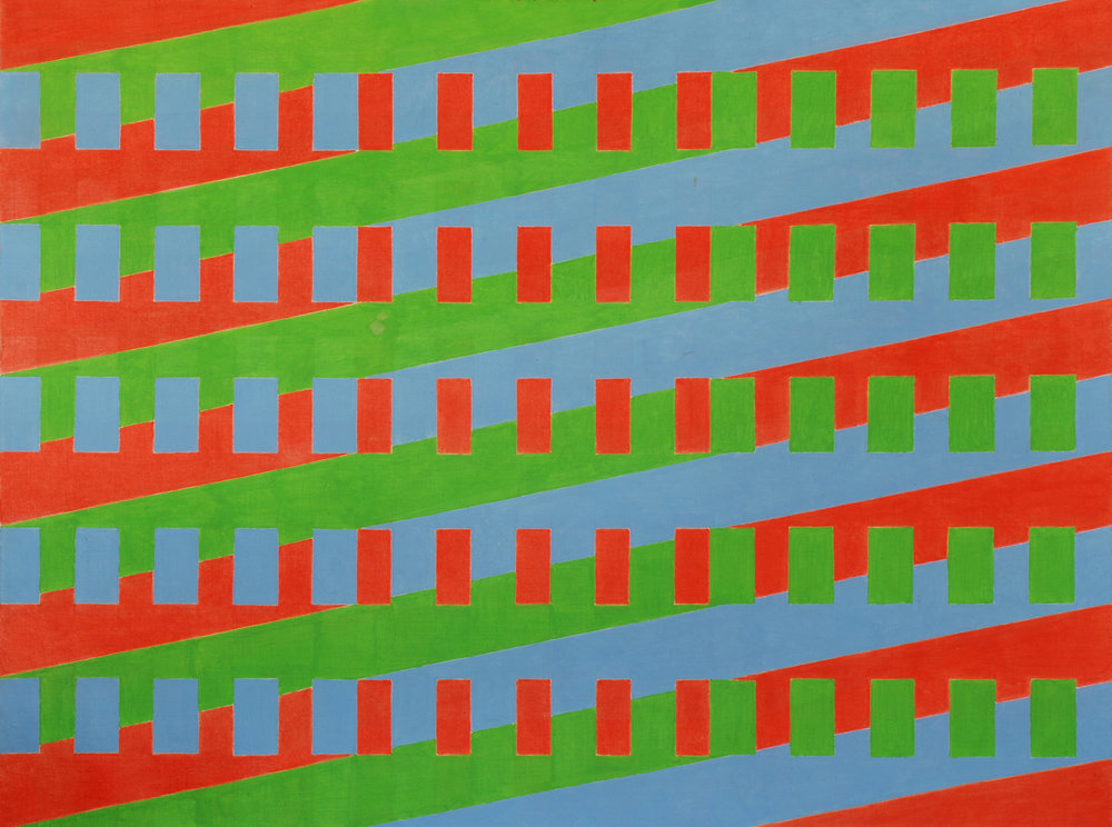 Michael Kidner (1917–2009)   Red Green and Blue , 1963 oil on canvas   43 x 60 in. (109.2 x 152.4 cm) LSFA# 14068