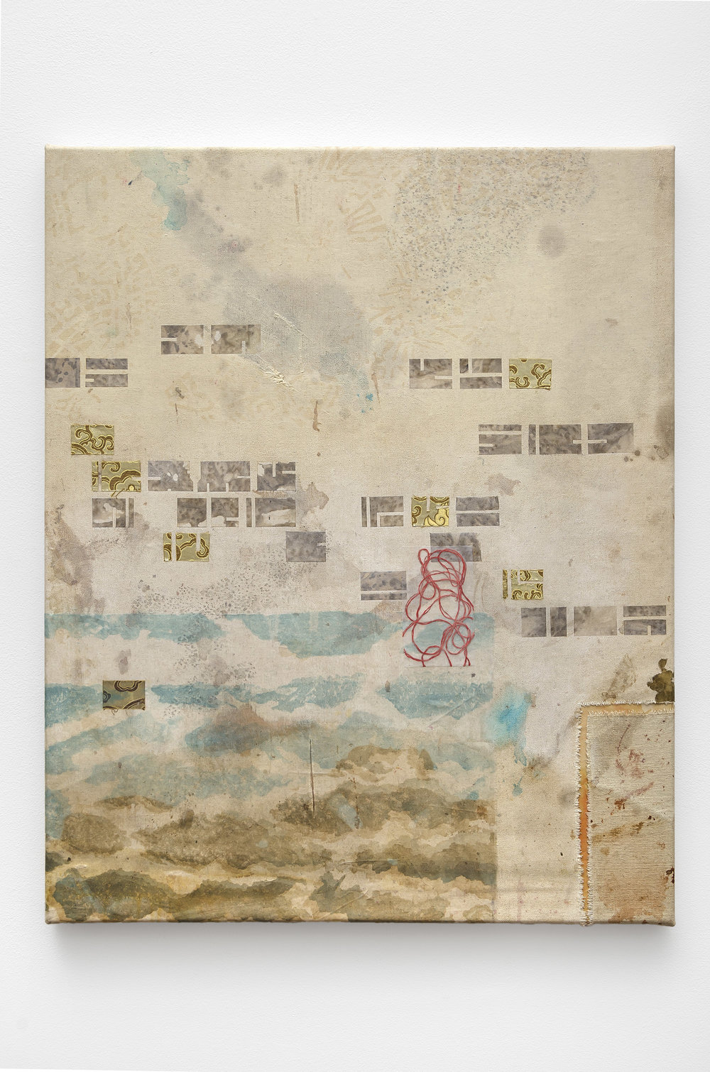 Victoria May,   Navigation of sorts , 2018, found canvas with screen printing, found fabrics, organza and ink, 30 x 24 inches