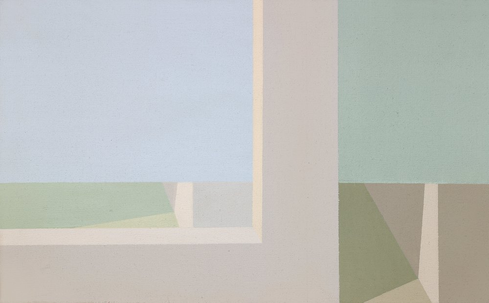 Helen Lundeberg (1908-1999)   Double View , 1973  acrylic on canvas 10 x 16 inches; 25.4 x 40.6 centimeters