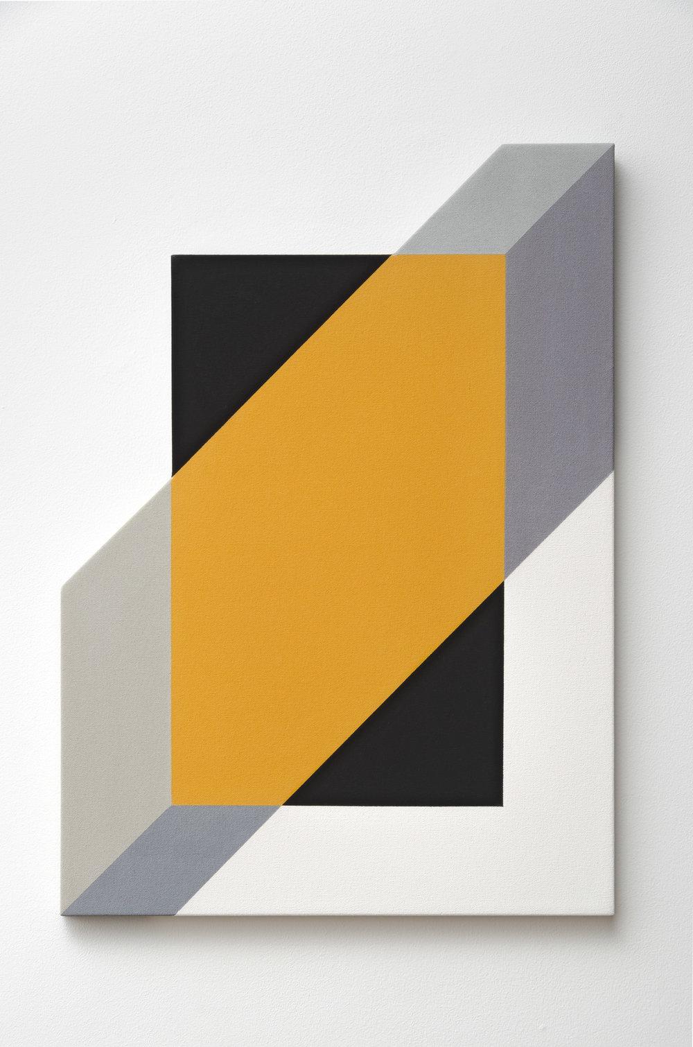 Mokha Laget, b. 1959   Ventana #3 , 2018  acrylic on shaped canvas  28 x 20 inches; 71.1 x 50.8 centimeters