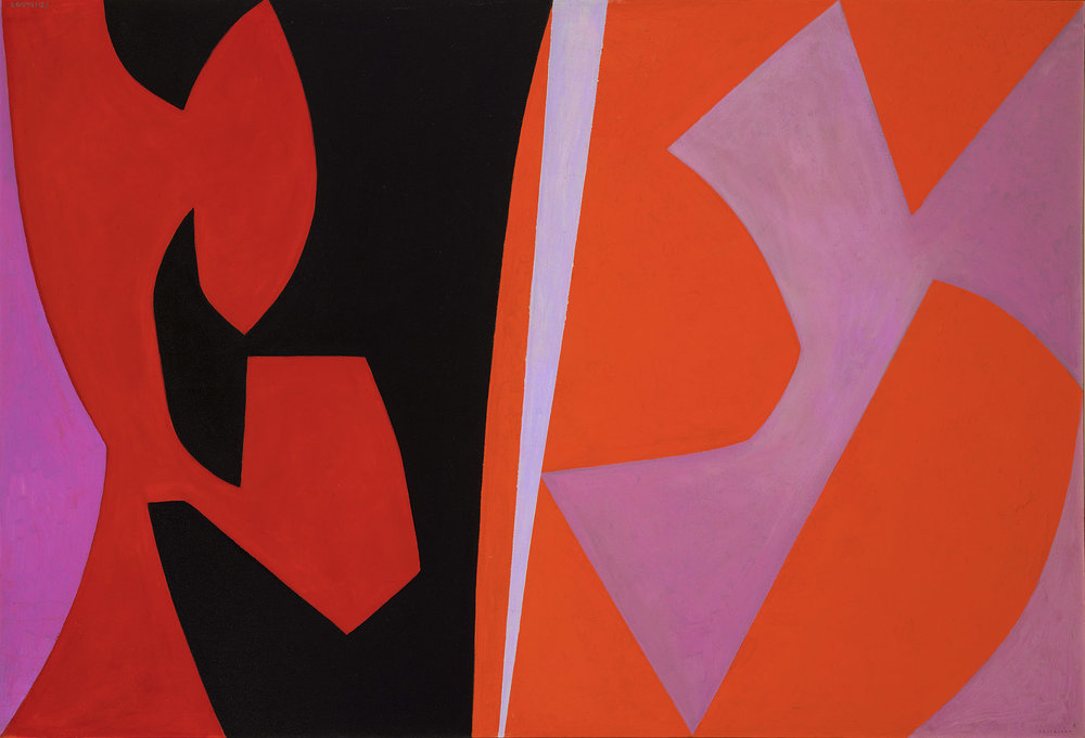 Lorser Feitelson (1898-1978)   Magical Space Forms , 1952-54 oil on canvas   45 x 66 inches; 114.3 x 167.6 centimeters