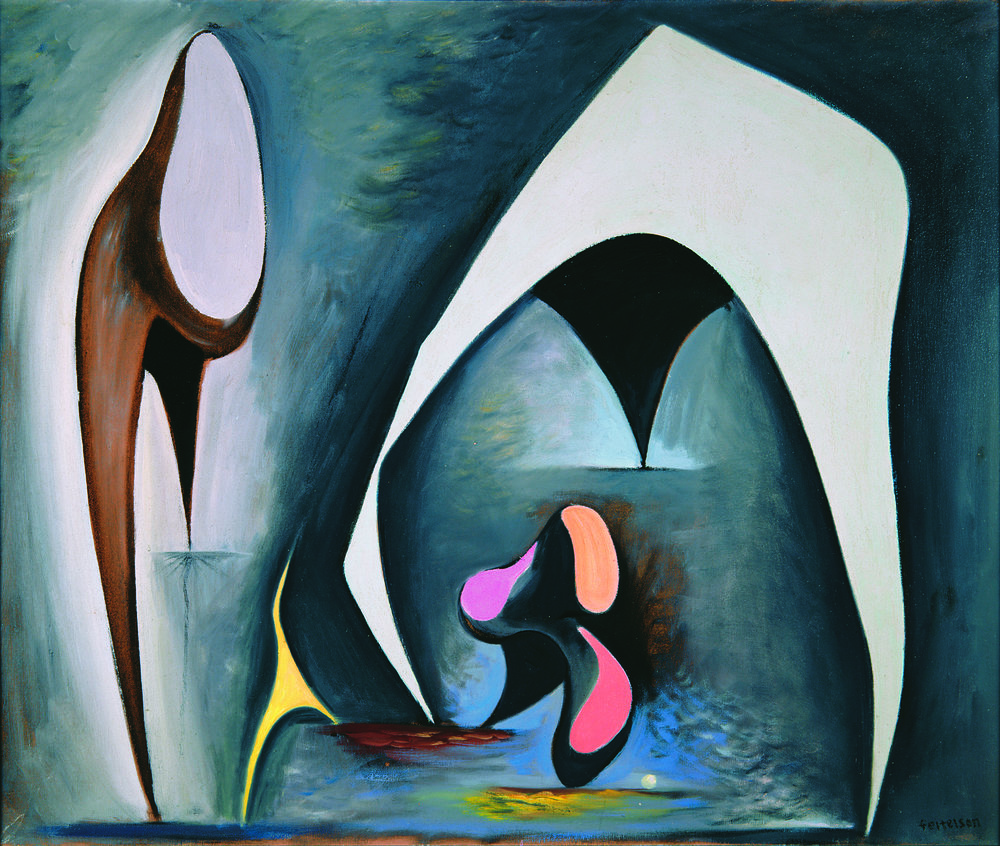 Lorser Feitelson (1898-1978)   Magical Forms , 1945 oil on canvas   30 x 36 inches; 76.2 x 91.4 centimeters
