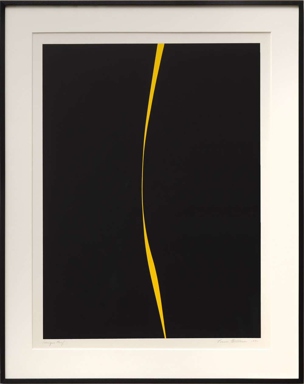 Lorser Feitelson (1898-1978)   Untitled (Black with Yellow Line) , 1971 serigraph  36 x 28 inches; 91.4 x 71.1 centimeters
