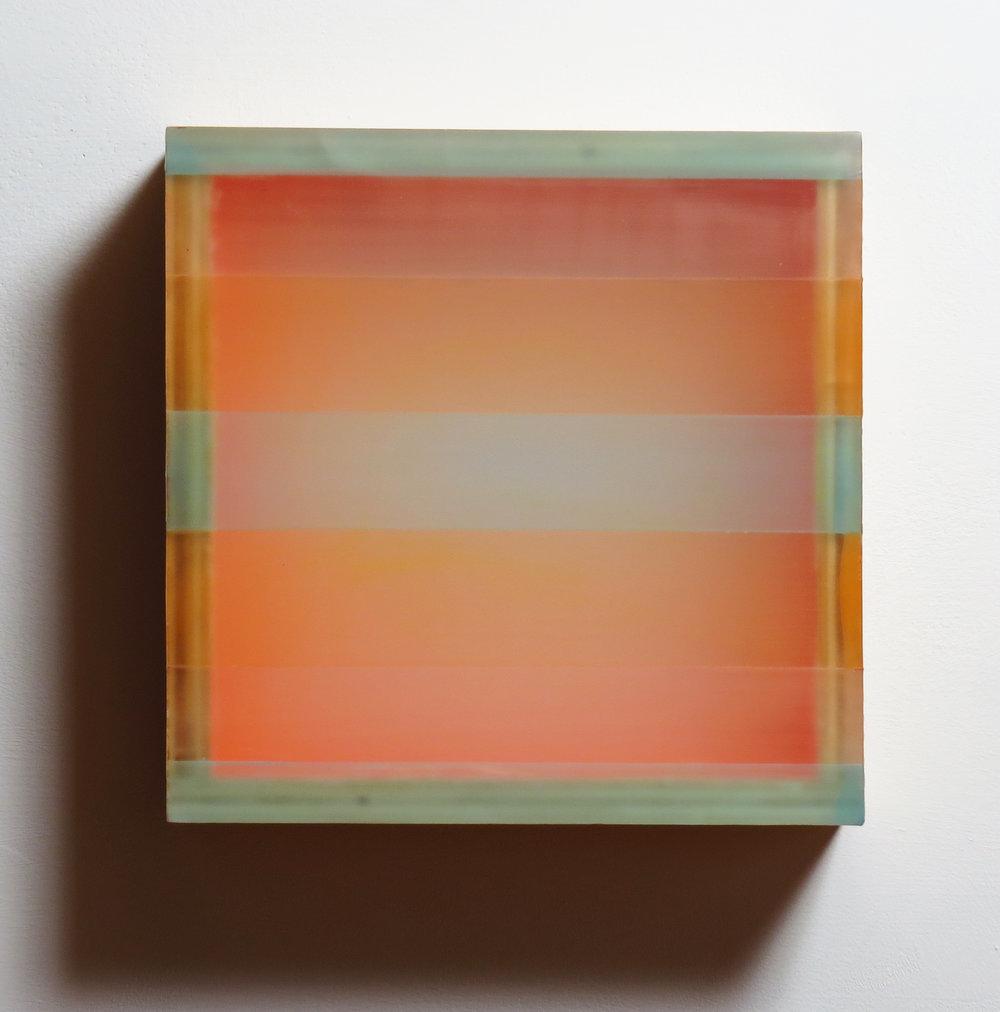 Like Desire , 2016 plexiglas, birch, beeswax, pigment, tape 11 3/4 x 12 x 3 inches; 29.8 x 30.5 x 7.6 centimeters