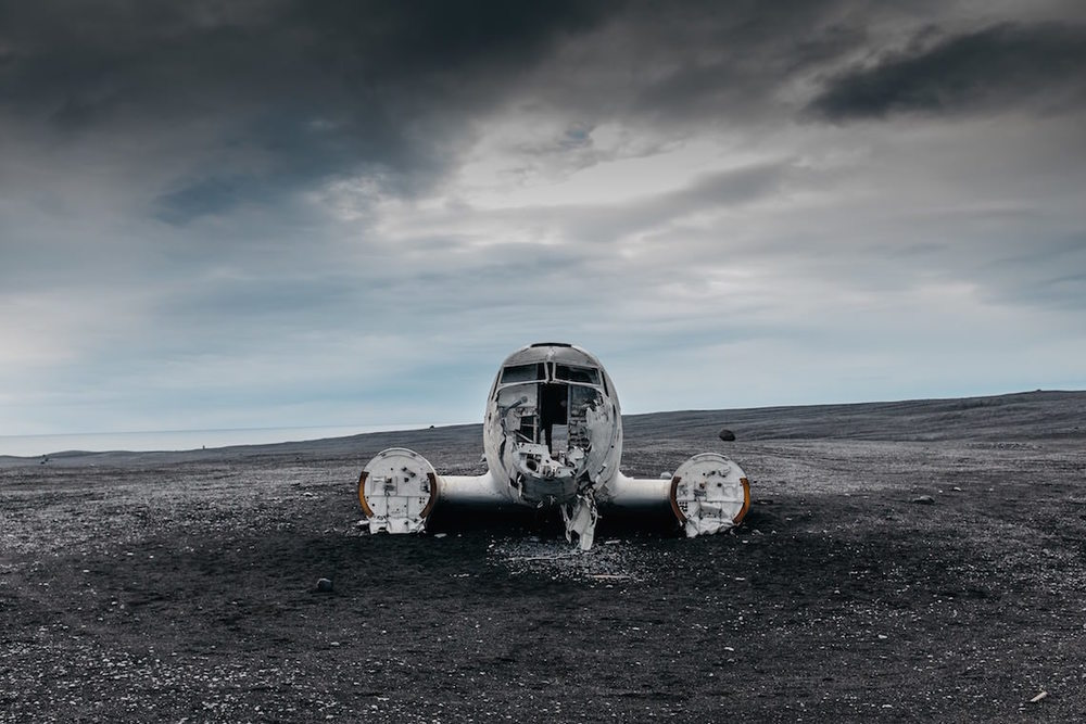 Crashed US Navy Plane on the black sands of South Iceland