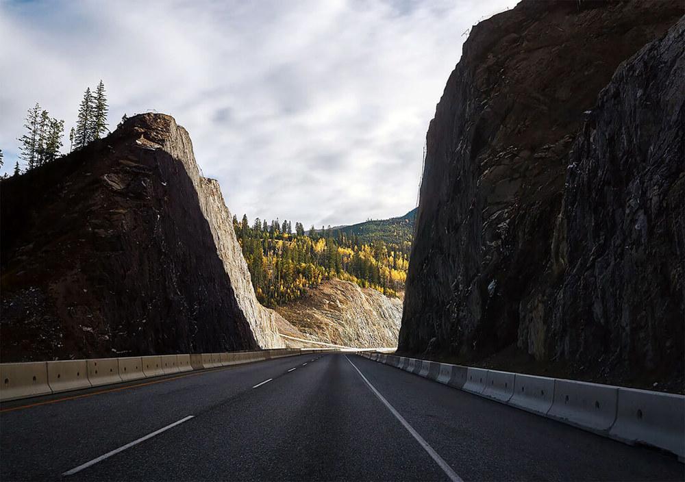 Riding through mountains. Golden, BC.