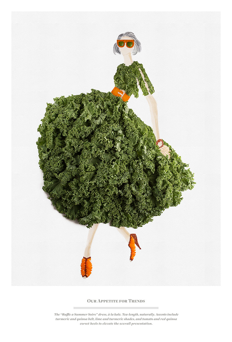 "The ""Ruffle a Summer Soire"" dress, a la kale. Tea-length, naturally. Accents include turmeric and quinoa belt, lime and turmeric shades, and tomato and red quinoa corset heels to elevate the overall presentation."