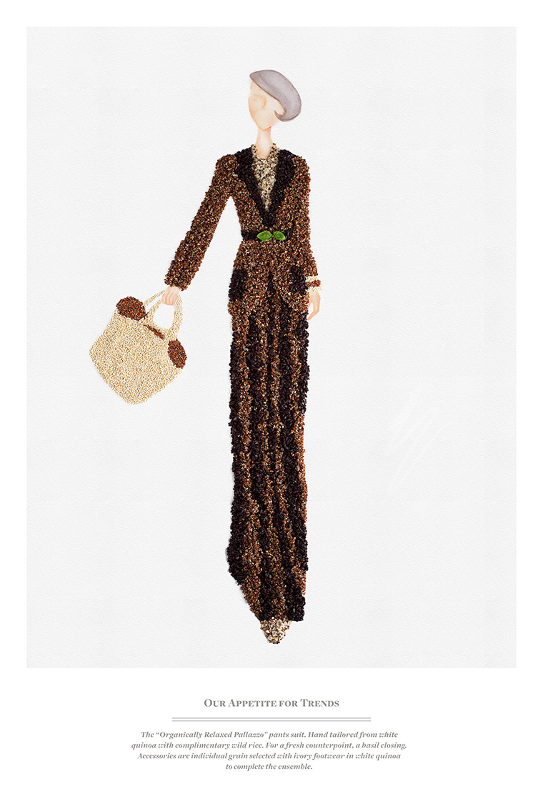 "The ""Organically Relaxed Pallazzo"" pants suit. Hand tailored from white quinoa with complimentary wild rice. For a fresh counterpoint, a basil closing. Accessories are individual grain selected with ivory footwear in white quinoa to complete the ensemble."