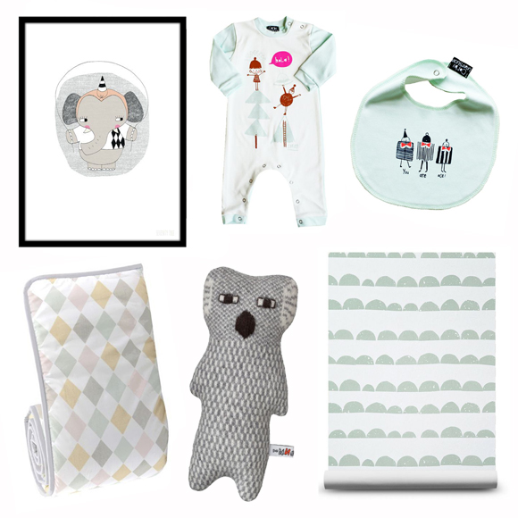 Clockwise: Elephant print - Seventy Tree / Babygrow - Corby Tindesticks / Bib - Corby Tindersticks / Wallpaper - This Modern Life / Knited toy - Donna Wilson / Cot bumper - Nubie