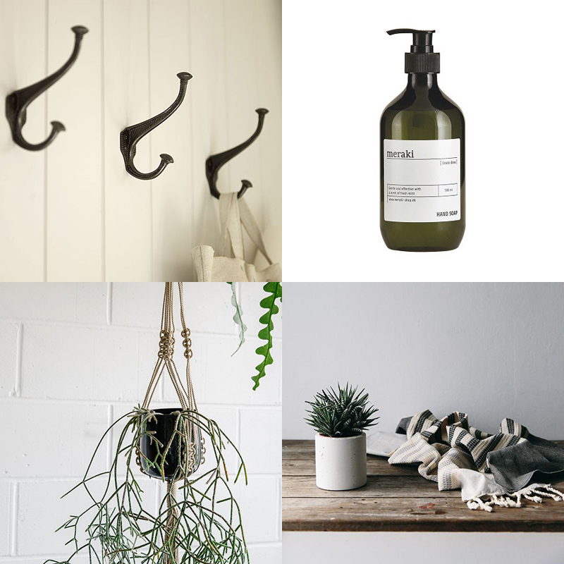 Hooks: Baileys / Hand wash: Southwood Stores / Hanging planter: Ro-Co / Towel: The Future Kept