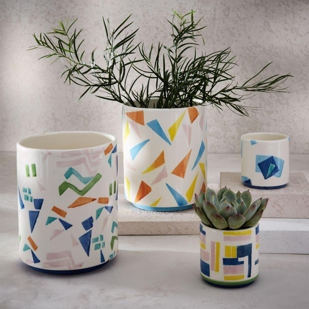 Roar + Rabbit Patterned Cachepots - West Elm - from £12 (S: 8cm dia x 8cm h, L: 15cm dia x 18cm h)