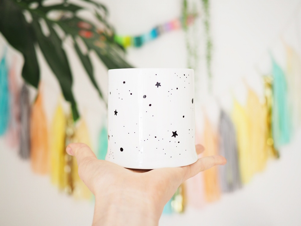 Hand illustrated porcelain pots - Oh no Rachio - £25 (9cm dia. x 10cm)