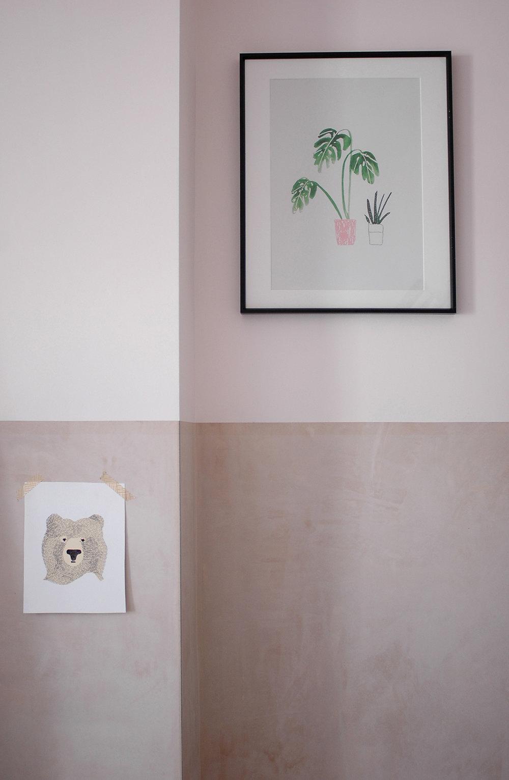 Monstera print: The Lovely Drawer / Bear print: Seventy Tree