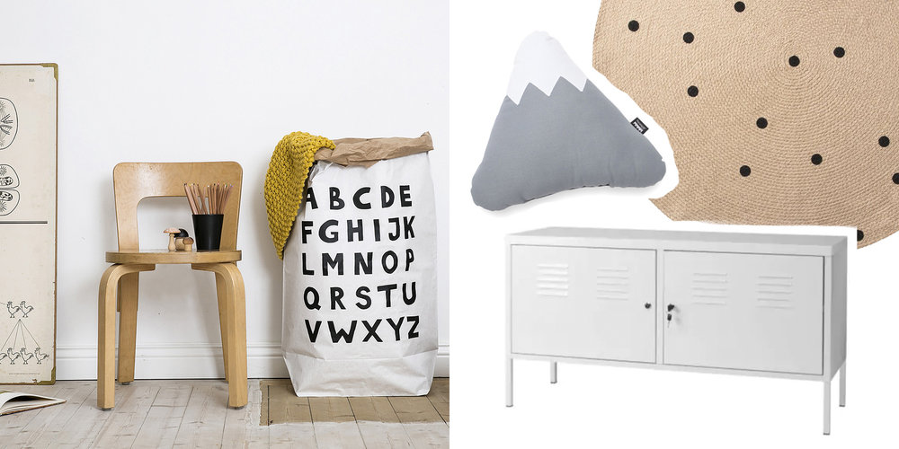 ABC paper storage bag, £14, Nubie / Mountain cushion, £26, This Modern Life / Ferm Living jute rug, £45, Future and Found / IKEA PS cabinet, £70, IKEA