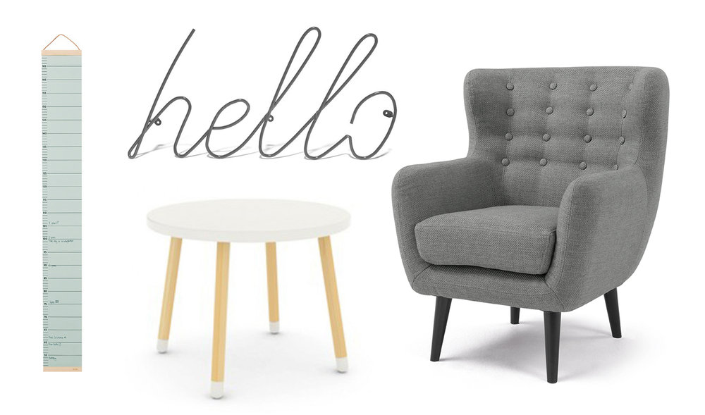 Height chart , £34,  Hello wall hook , £38, both This Modern Life /  Play table , £85, Olli Ella,  Mini Kubrick armchair , £179, Made.com