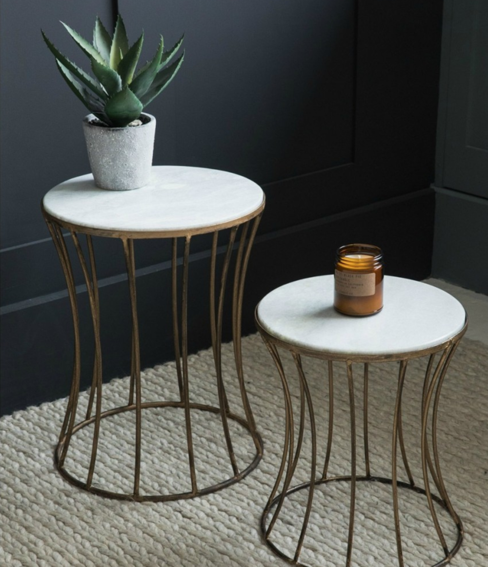 Perfect White Marble Drum Side Table from Rose and Grey