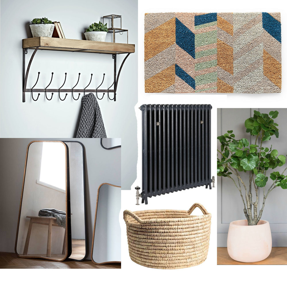 Wooden shelf with hooks, £50, Cox and Cox / Doormat, £16, Oliver Bonas / Faux Begonia tree, £295, Rose and Grey / Cast iron radiator, price dependent on size, Castrads / Storage basket, £19.99, H&M / Curved mirror, £85, Notonthehighstreet.com
