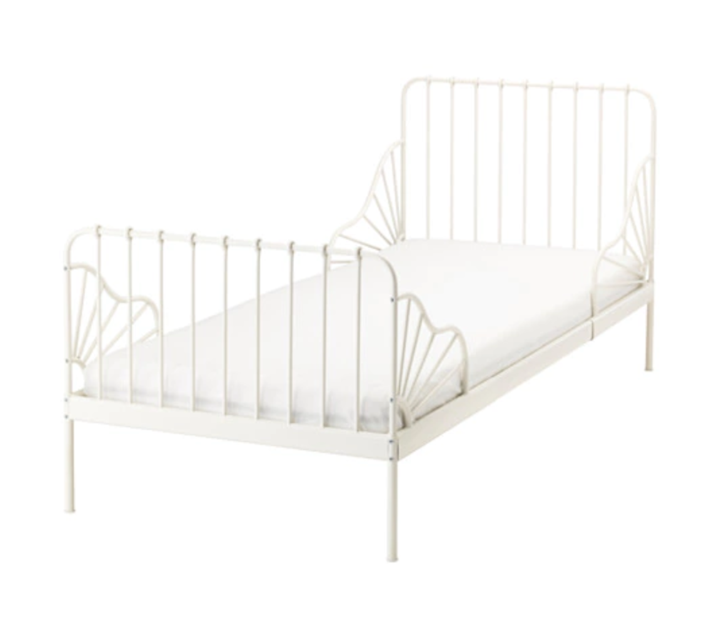 White steel bed frame, £85, IKEA (135 cm x 85cm - extends to 206cm long)