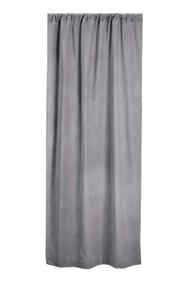 Velvet curtain length in grey  - H&M - £34.99