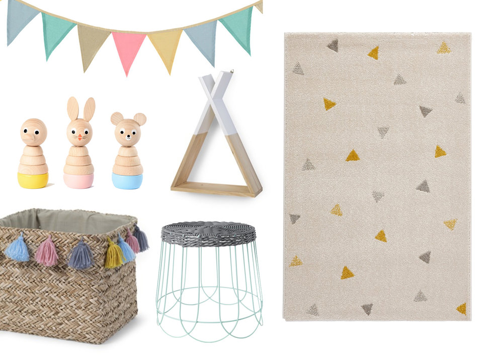 Garland, £9.50, This Modern Life /  Wooden stacking toys, £29.50, Sarah and Bendrix / Tipi wooden wall shelf, £40, Storage basket with tassels, £40, both Cuckooland / Wire table(plant stand), £8, IKEA / Triangles rug, £49, La Redoute (currently 25% off!)