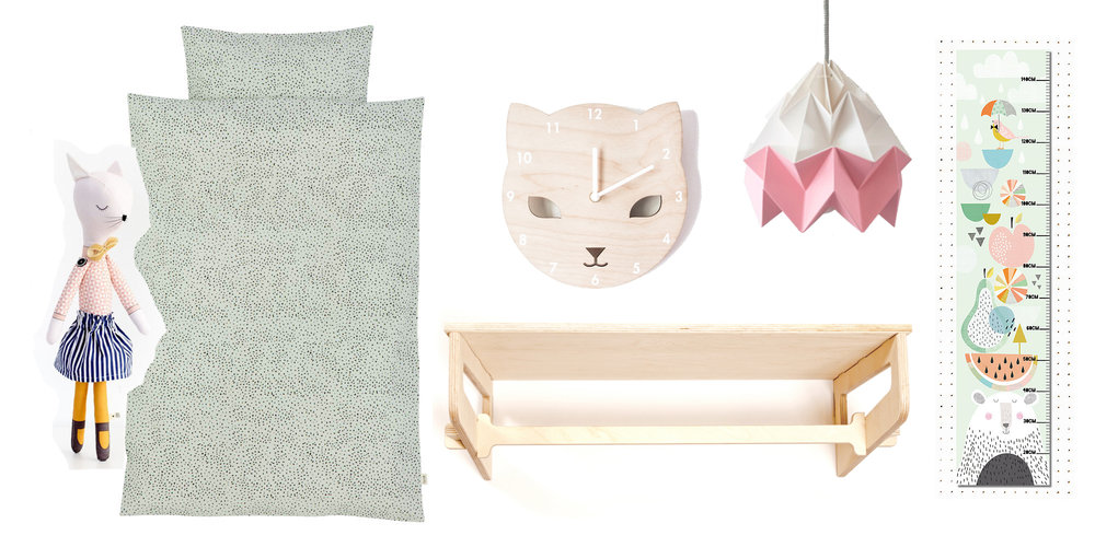 Miss Kitty doll, £30, Sarah and Bendrix / bed linen, £50.74, Smallable / Cat clock, £25, Red Hand Gang / Light, Snowpuppe / height chart, £17.50, Papermoon / clothes rail & shelf, £68, The Modern Nursery