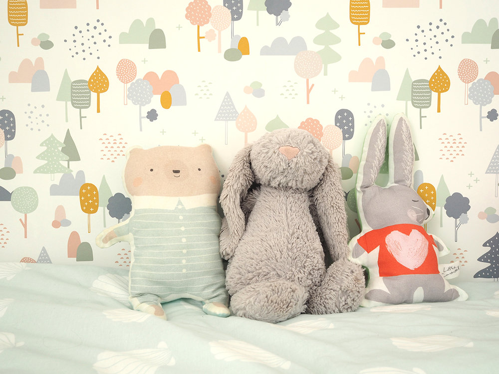 Sleepy bear toy, $28, Petit Pippin; Jellycat bunny was a baby gift, see John Lewis; Love Bunny toy, £16, Little Carousel