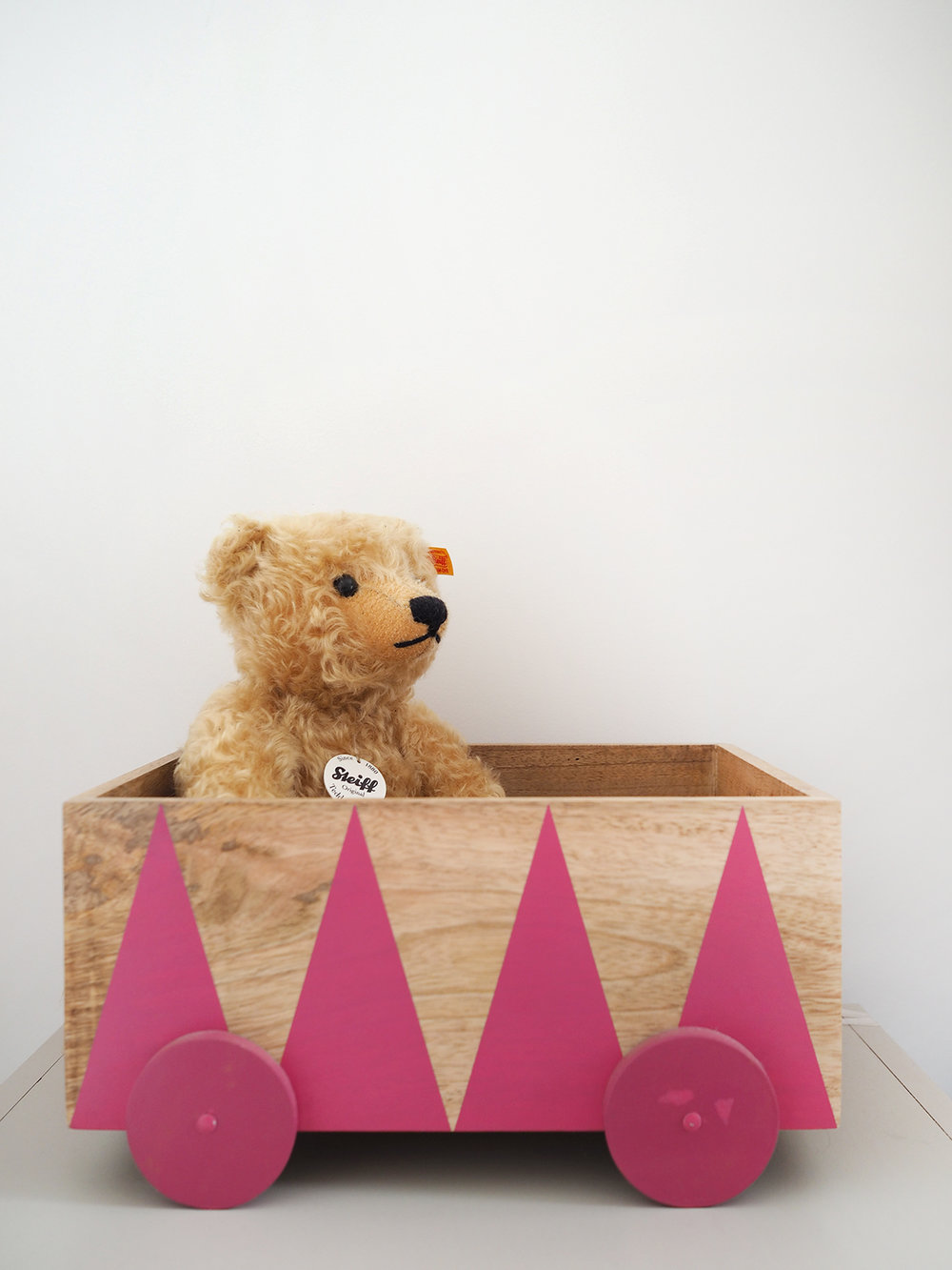 Steiff teddy , gift from grandparents; Wooden box from  H&M , no longer available.